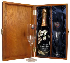 Luxury Wooden Gift Box with Perrier Jouet Vintage Champagne and Glasses Gift Box