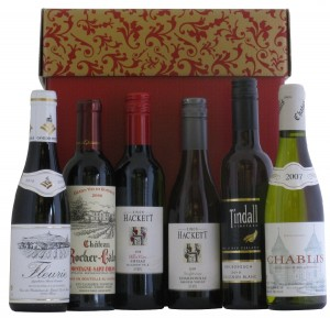 Six Half Bottles Mixed Countries in Red Hamper Gift Box