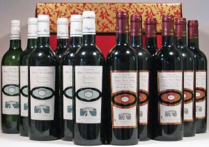 Twelve Bottles Bordeaux Red & White Wine in Hamper Gift Box
