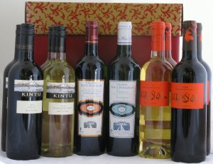 Twelve Bottles Red & White Wines from Around the World in Hamper Gift Box