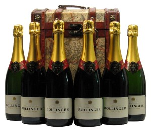 Six Bottles Champagne Bollinger Special Cuvee in Wooden Captain Cook Gift Box,