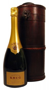Champagne Krug in Wooden Treasure Gift Box