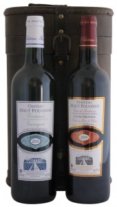 Two Bottle Treasure Chest Wine Gift Box with Haut Pougnan Bordeaux Red and White Wines