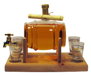 Whisky Barrel Gift with Tap & Four Glasses,