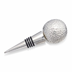 Golf Ball Wine Bottle Stopper, Silver Plated