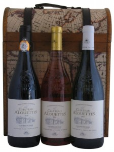 Three Bottle Captain Cook Wine Gift Box with Wines from Costieres de Nimes, France