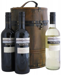 Wooden Wine Barrel with Three Bottles of Wine from Chile