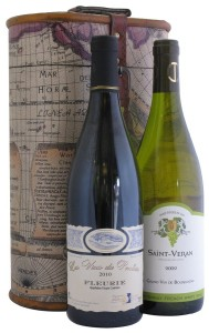 Two Bottle Captain Cook Wine Gift Box with Wines from Burgundy