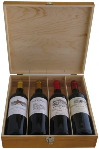 Bordeaux Wines in Wooden Wine Gift Box,