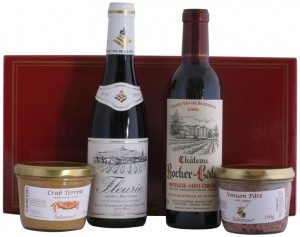 Hamper Gift Box with Two Half Bottles of Red Wine and Two Pates