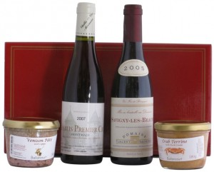 Hamper Gift Box with Two Half Bottles of Red and White Wine from Burgundy and Two Pates