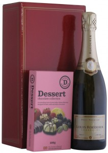 Champagne Louis Roederer Brut with Dessert Chocolates in a Red Gift Box,