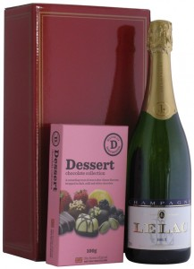 Champagne LeLac Brut and Dessert Chocolates in a Red Hamper Gift Box,
